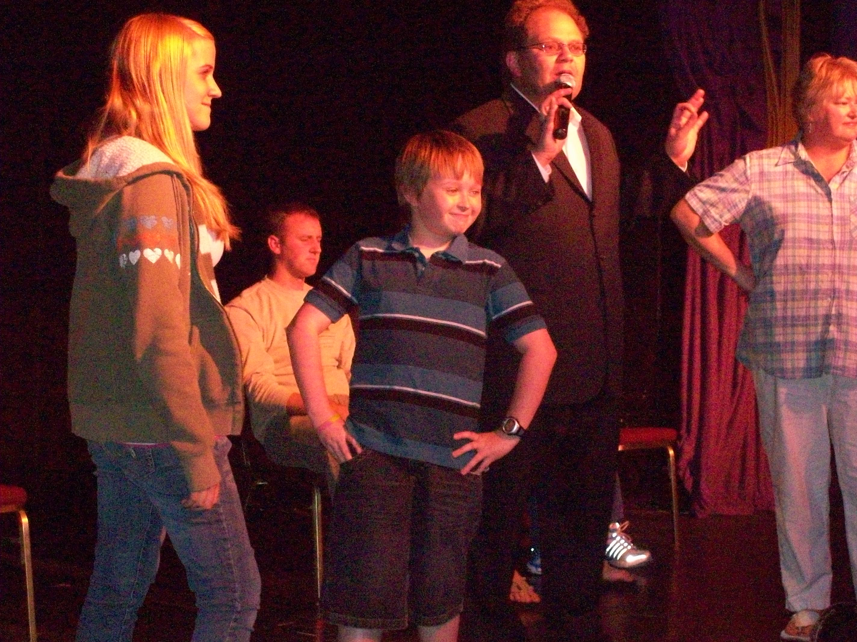 kids and families hypnotized in the Reno show Chris Cady's GEt Hypnotized comedy hypnosis show now playing in Reno Nevada in 2010