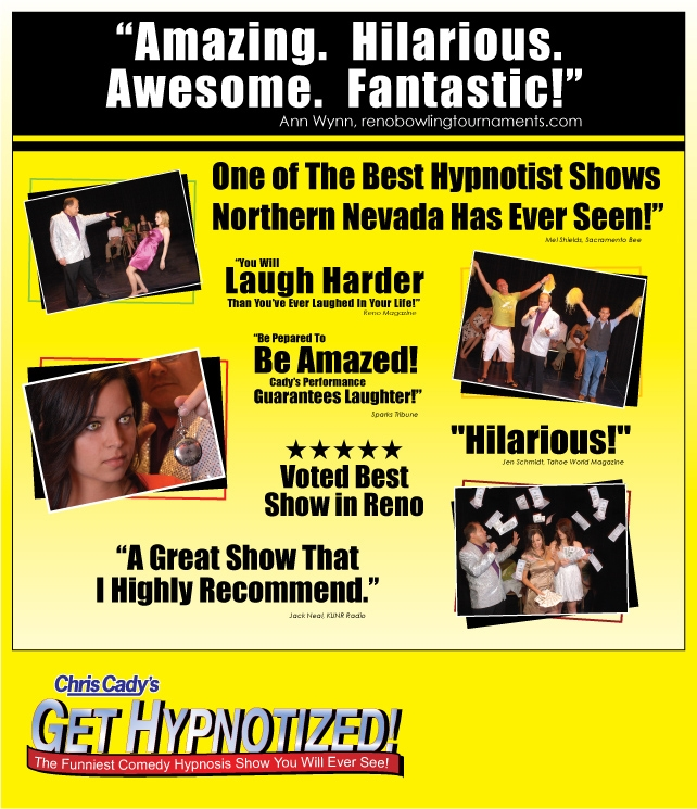 hypnosis show hypnotist entertainment reno Tahoe Sparks Nevada shows reno entertainment and special events  hypnotist chris cady comedy hypnosis show in reno and Tahoe nevada