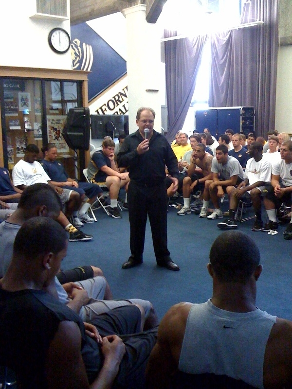 hypnotist Chris Cady hypnotizing college football team for mental toughness and focus  and fun too